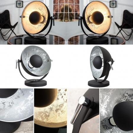 Tischlampe SPOT Schwarz-Silber 40cm Höhe - 3