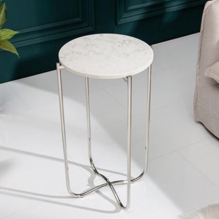 Beistelltisch FLORENTIN Weiß Marmor mit Silber Gestell 35cm Ø - 2