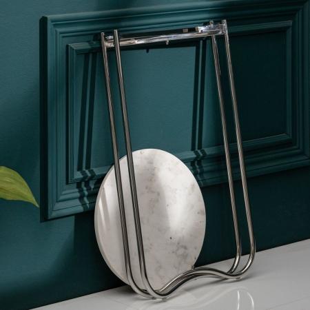 Beistelltisch FLORENTIN Weiß Marmor mit Silber Gestell 35cm Ø - 3