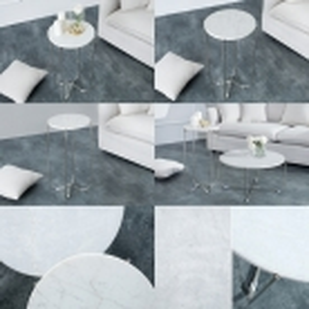 Beistelltisch FLORENTIN Weiß Marmor mit Silber Gestell 35cm Ø - 4