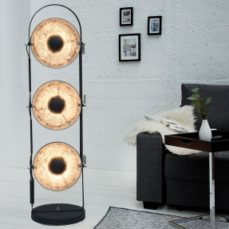 3er Stehlampe SPOT Schwarz-Silber 130cm Höhe - 1