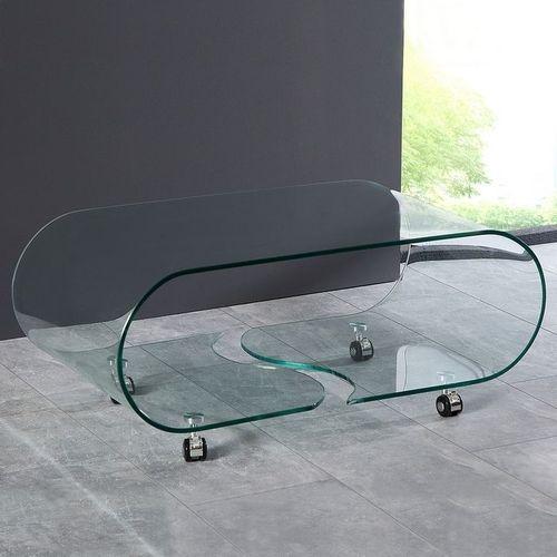 Glas-Couchtisch MAYFAIR transparent aus einem Guss auf Rollen 90cm - 1