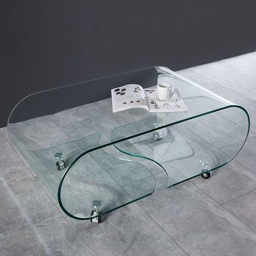 Glas-Couchtisch MAYFAIR transparent aus einem Guss auf Rollen 90cm - 2