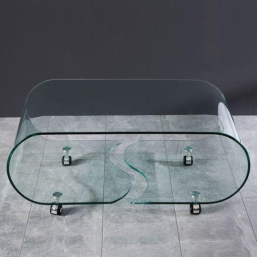 Glas-Couchtisch MAYFAIR transparent aus einem Guss auf Rollen 90cm - 3