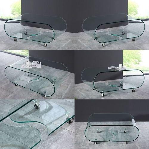 Glas-Couchtisch MAYFAIR transparent aus einem Guss auf Rollen 90cm - 5