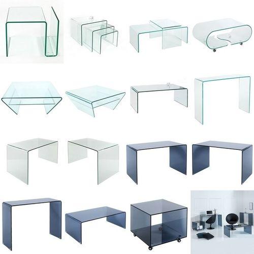 Glas-Couchtisch MAYFAIR transparent aus einem Guss auf Rollen 90cm - 7