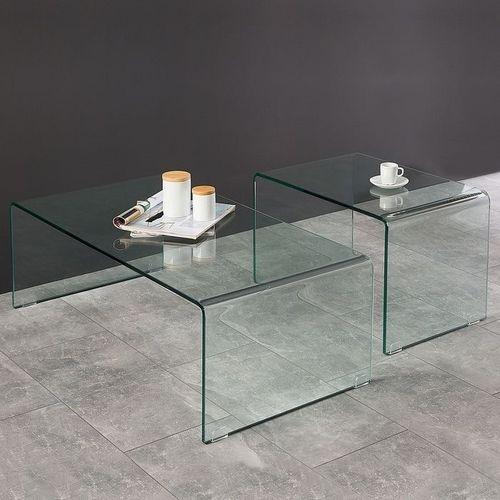 2er Set Glas-Couchtische MAYFAIR transparent aus einem Guss 60/100cm - 1