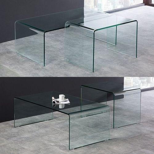 2er Set Glas-Couchtische MAYFAIR transparent aus einem Guss 60/100cm - 3