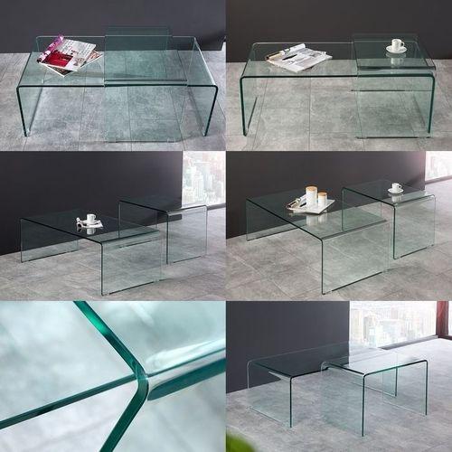 2er Set Glas-Couchtische MAYFAIR transparent aus einem Guss 60/100cm - 5