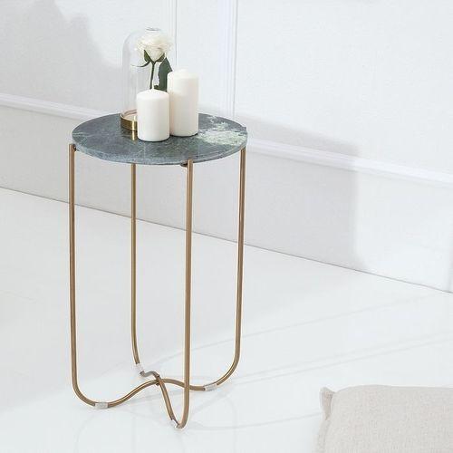 Beistelltisch FLORENTIN Grün Marmor mit Gold Gestell 35cm Ø - 1