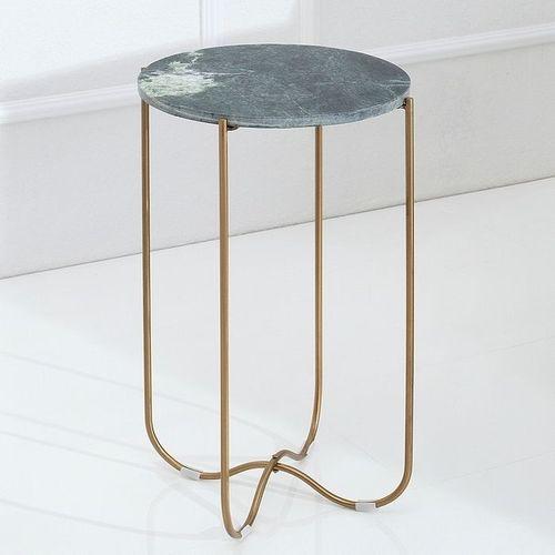 Beistelltisch FLORENTIN Grün Marmor mit Gold Gestell 35cm Ø - 2