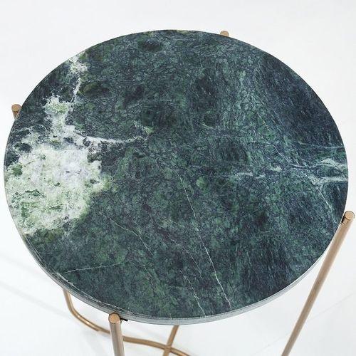 Beistelltisch FLORENTIN Grün Marmor mit Gold Gestell 35cm Ø - 3