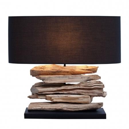 Tischlampe TIMOR Schwarz aus Treibholz handgefertigt 55cm Breite - 1