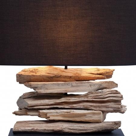 Tischlampe TIMOR Schwarz aus Treibholz handgefertigt 55cm Breite - 2