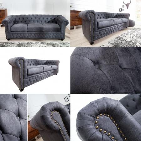3er Sofa WINCHESTER Grau im klassisch englischen Chesterfield-Stil - 2