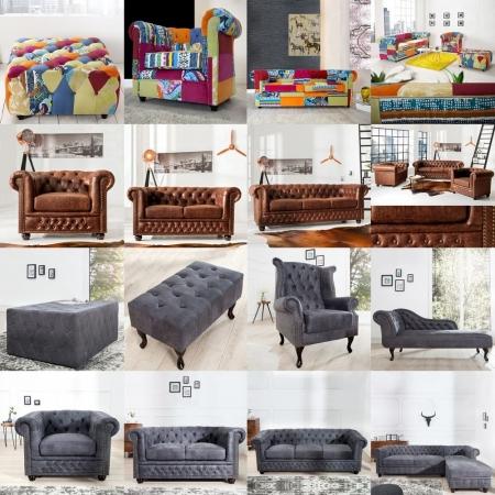 3er Sofa WINCHESTER Grau im klassisch englischen Chesterfield-Stil - 3