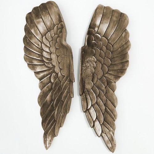 XL Wanddeko Flügelpaar WINGS Bronze-Silber Antik aus poliertem Aluminium 65cm Höhe - 1