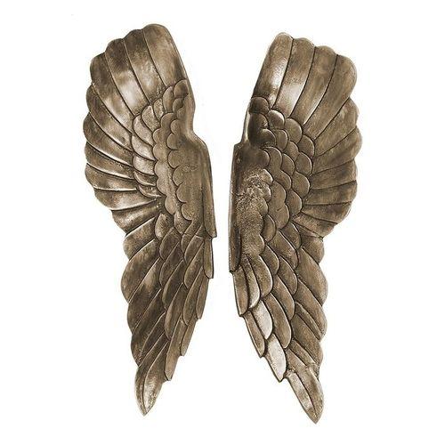 XL Wanddeko Flügelpaar WINGS Bronze-Silber Antik aus poliertem Aluminium 65cm Höhe - 2