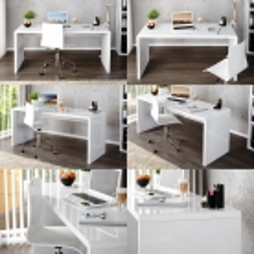Schreibtisch SOHO Weiß Hochglanz 120cm - 3
