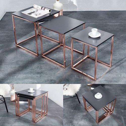 3er Set Beistelltische MAILAND Anthrazit Matt mit Kupfergestell 40/35/30cm - 1