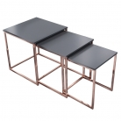 3er Set Beistelltische MAILAND Anthrazit Matt mit Kupfergestell 40/35/30cm - 4