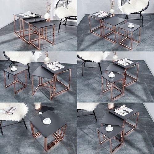 3er Set Beistelltische MAILAND Anthrazit Matt mit Kupfergestell 40/35/30cm - 5