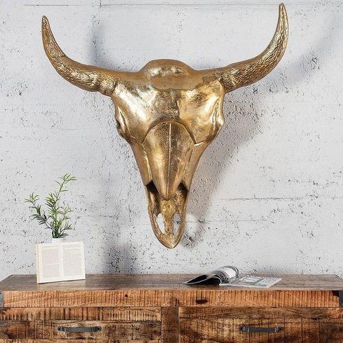 XXL Deko Stierkopf Schädel RODEO Gold aus poliertem Aluminium 95cm x 100cm - 1
