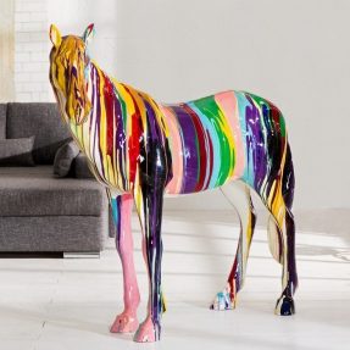 XXL Deko Skulptur Pop Art Pferd STALLION Bunt aus Fiberglas handbemalt 140cm x 160cm - 1