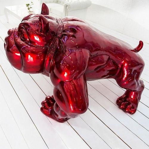 XXL Deko Skulptur Bulldogge BUDDY Rot aus Fiberglas handbemalt 140cm x 150cm - 1