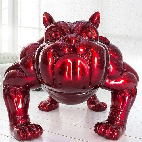 XXL Deko Skulptur Bulldogge BUDDY Rot aus Fiberglas handbemalt 140cm x 150cm - 2