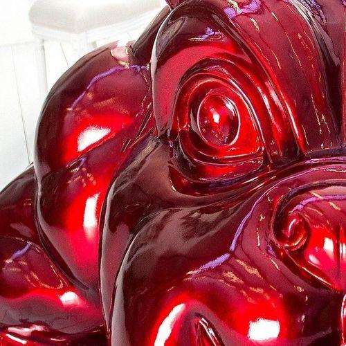 XXL Deko Skulptur Bulldogge BUDDY Rot aus Fiberglas handbemalt 140cm x 150cm - 3