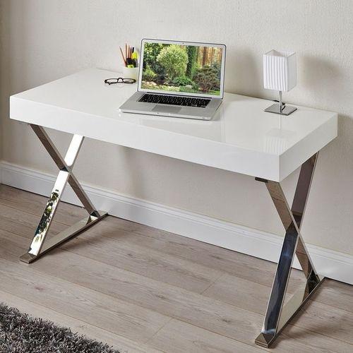 Schreibtisch LONDON Weiß Hochglanz & Gestell Chrom 100cm x 50cm - 1