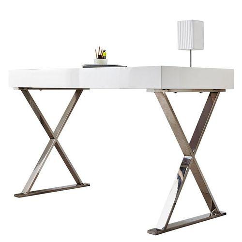 Schreibtisch LONDON Weiß Hochglanz & Gestell Chrom 100cm x 50cm - 10