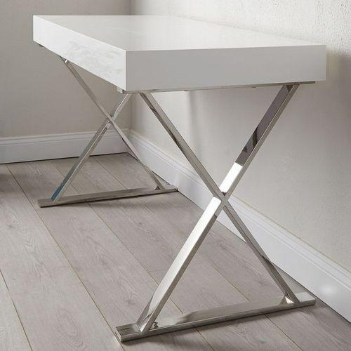 Schreibtisch LONDON Weiß Hochglanz & Gestell Chrom 100cm x 50cm - 2