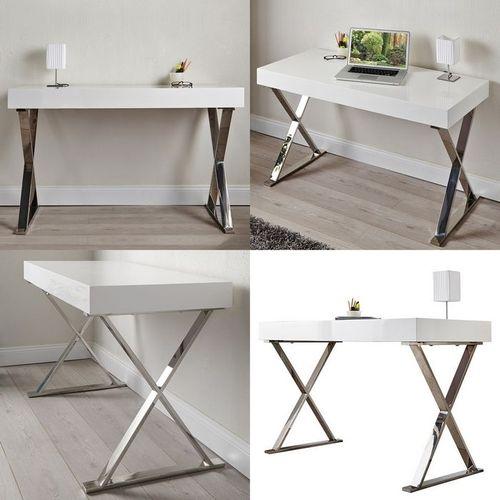 Schreibtisch LONDON Weiß Hochglanz & Gestell Chrom 100cm x 50cm - 3