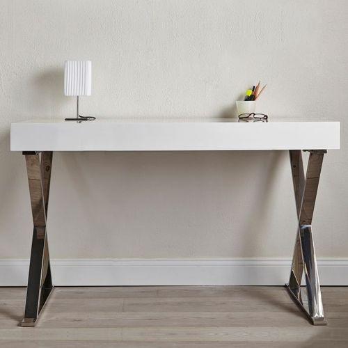 Schreibtisch LONDON Weiß Hochglanz & Gestell Chrom 100cm x 50cm - 6