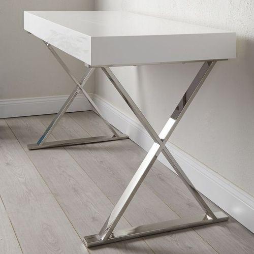 Schreibtisch LONDON Weiß Hochglanz & Gestell Chrom 100cm x 50cm - 9