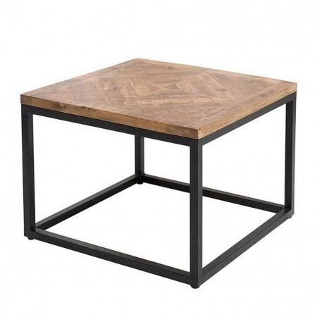 Industriedesign Couchtisch SITA Natur aus Mangoholz in Fischgratoptik handgefertigt 60cm - 4