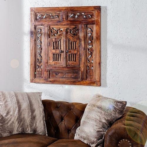 Wandspiegel MUMBAI Braun aus Mahagoniholz mit 2 Türen handgefertigt 70cm x 60cm - 1