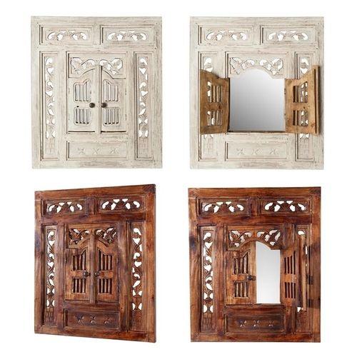 Wandspiegel MUMBAI Braun aus Mahagoniholz mit 2 Türen handgefertigt 70cm x 60cm - 4