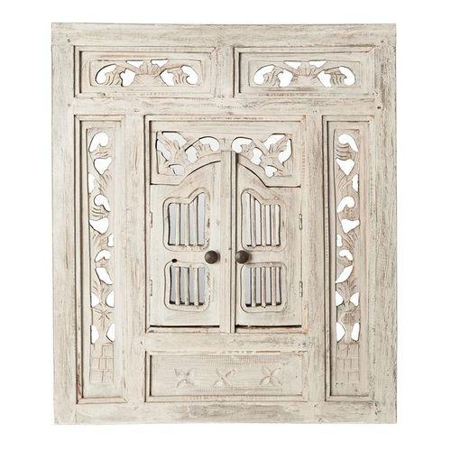 Wandspiegel MUMBAI Weiß aus Mahagoniholz mit 2 Türen handgefertigt 70cm x 60cm - 1