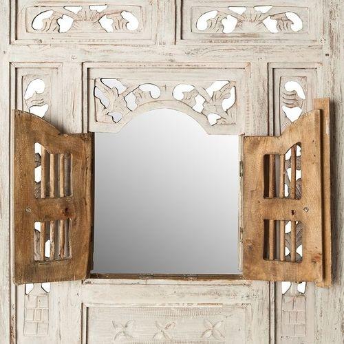 Wandspiegel MUMBAI Weiß aus Mahagoniholz mit 2 Türen handgefertigt 70cm x 60cm - 2