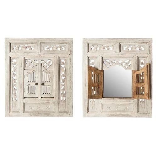 Wandspiegel MUMBAI Weiß aus Mahagoniholz mit 2 Türen handgefertigt 70cm x 60cm - 3