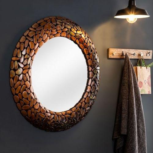 Wandspiegel RAVENNA Kupfer aus Metallplättchen im Mosaik-Design handgefertigt 82cm Ø - 1