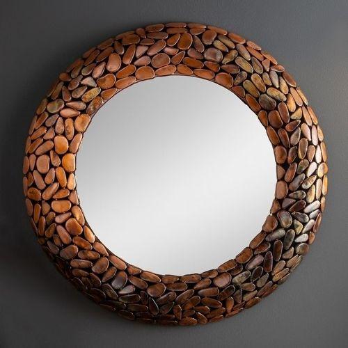Wandspiegel RAVENNA Kupfer aus Metallplättchen im Mosaik-Design handgefertigt 82cm Ø - 2