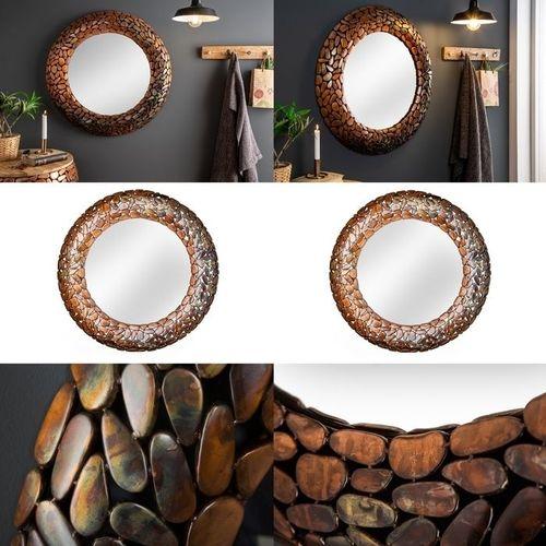 Wandspiegel RAVENNA Kupfer aus Metallplättchen im Mosaik-Design handgefertigt 82cm Ø - 3