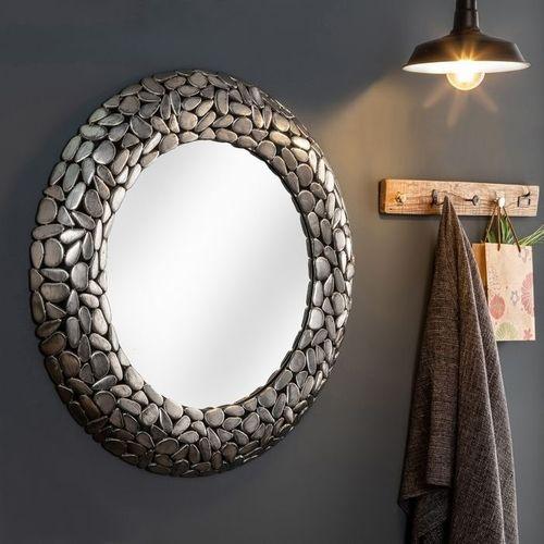 Wandspiegel RAVENNA Silber aus Metallplättchen im Mosaik-Design handgefertigt 82cm Ø - 1