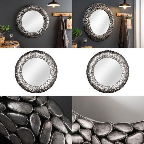 Wandspiegel RAVENNA Silber aus Metallplättchen im Mosaik-Design handgefertigt 82cm Ø - 3