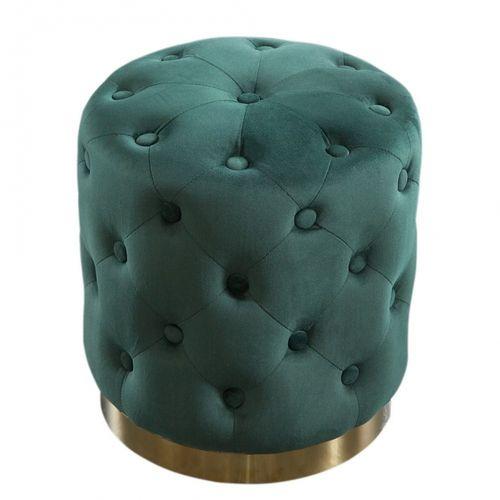 Sitzhocker POMPIDOU Grün aus Samtstoff gesteppt mit Gold Metallsockel in Barock-Design 36cm x 40cm - 2