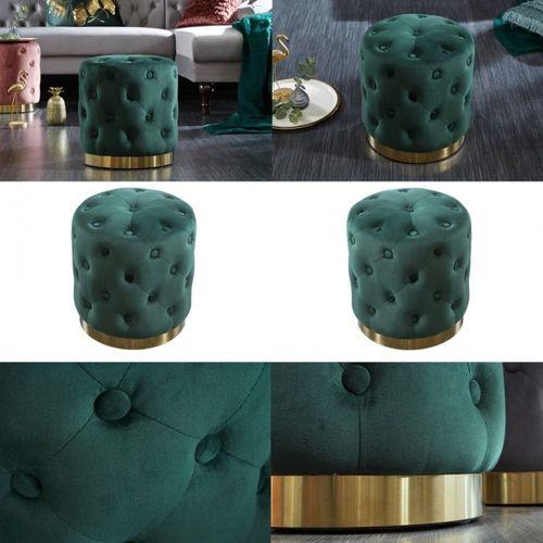 Sitzhocker POMPIDOU Grün aus Samtstoff gesteppt mit Gold Metallsockel in Barock-Design 36cm x 40cm - 3